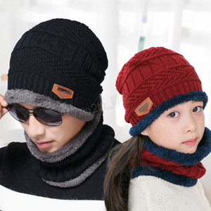 bufanda niño sombrero al por mayor-Winter Beanie Scarf en juego Parent child family fleece cálido Soft Skull Cap Mask earflaps Sombreros Unisex Knitted Outdoor Hat LJJA2797