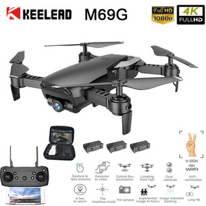KEELED M69G FPV RC Drone 4K 1080P WiFi HD Dual Cameras Drones Foldable Mini Dron Gesture photo Quadcopter with Camera VS F11 Pro T191016