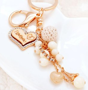 Wholesale Love Keychain Heart Shape Key Chain Purse Bags Pendant Cars Shoe Ring Holder Chains Metal Acrylic bead KeyRings Party Favor GGA2774