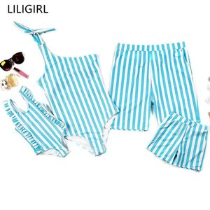 Wholesale LILIGIRL Family Fashion Swimwear Blue Stripe One Shoulder Swimsuit For Mom And Daughter Matching Swimsuit Beach Shorts Men Boys