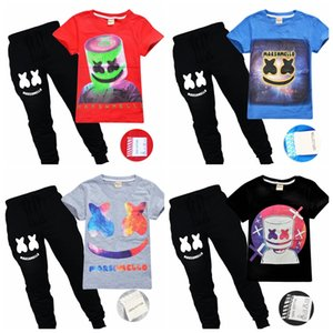 100% cotton sweat-absorbent summer boy casual outfits clothing suit marshmello dj mask T Shirt+pants 2pcs clothes set on Sale