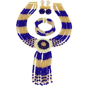 Wholesale Costume Royal Blue Champagne Gold AB Women Crystal Beads Necklace Earrings Sets for Anniversary C ZPHLS