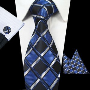 Mens Fashion Ties Dark Blue Printed Necktie Business Casual Polyester Silk Tie Formal Tie Cufflink Hanky Sets Classic Floral Tie