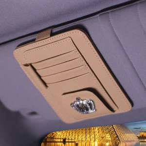 Wholesale Crown Car Sun Visor Type Cards Holder Sunglasses Glasses Clip Car Organizer Name Card Storage Pen Holder Case Accessories
