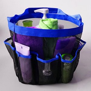8 pockets mesh shower organizer Quick Dry Shower Bag Toiletry and Bath Organizer storage Compartments for Bathroom Accessories on Sale
