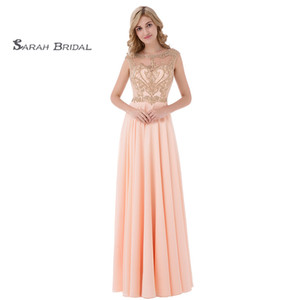 Wholesale Elegant Sleeveless Jewel Hollow Floor Length Prom Dresses Ruched Beads Chiffon A-Line Homecoming Dress In Stock LX475