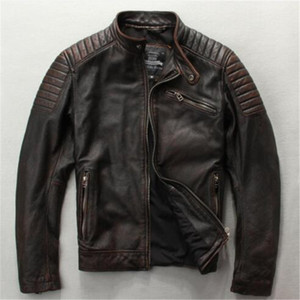 Men's fashionable slim fit genuine leather jacket brown black David Buckham style leather jacket men cow skin motorcycle jackets