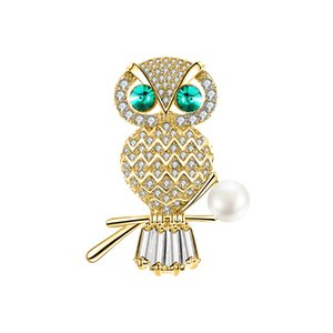Wholesale Copper Brooch Pin Cute Owl Pet Model Copper Zircon Brooch Pin Pin Party Jewelry Adornment High Quality Gift Two Choose One