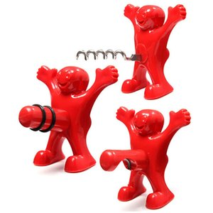 Wholesale Red happy Man Beer Wine Opener and Stopper Creative Multifunction Stainless Steel Soda Bottle Bar Tools Novelty Cork Plug