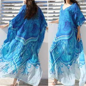 Wholesale Ocean Blue Beach Dress Bohemian Half Printed Kaftan Plus Size Tunic Women Summer Beachwear Sleeve Maxi Dress Robe N669