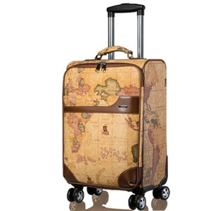 Wholesale LeTrend Retro map Spinner Rolling Luggage Women Password Trolley Men Suitcase Wheels inch PU Leather Cabin Travel Bag Trunk