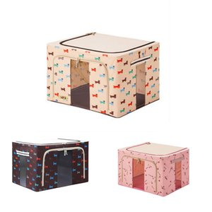 Durable Oxford Fabric Foldable Steel Shelf Lidded Storage Box Natural Canvas Organizer Container with Steel Frame 66L
