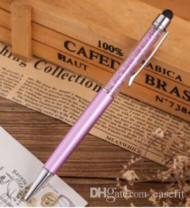5 Pcs lot Cute Crystal Pen Diamond Ballpoint Pens Stationery Ballpen 2 In 1 Crystal Stylus Pen Touch Free Shipping