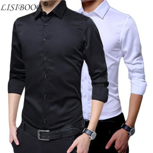 Wholesale Mens Long Sleeve Shirt Dress Up Professional Shirt Long Sleeve Mens White Slim Fit Shirt Solid Color Men Business Dress