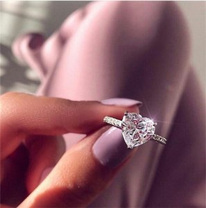 Wholesale Zircon Heart Ring Heart Shape Diamond Rings Crystal Engagement Wedding Ring Women New Design Fashion Jewelry Gift