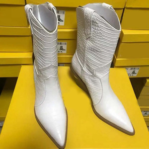 TOP-Quality White Beige Black Yellow Faux Leather Cowboy Ankle Boots for Women Wedge High Heel Boots Snake Print Western Cowgirl FEN01