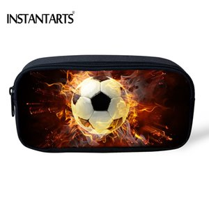 Wholesale INSTANTARTS Cool D Fire Soccerly Foot Ball Print Boys Pencil Case Kids Large Capacity Students Pencil Bags Pouch Cosmetic Cases