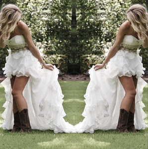 Wholesale Modest High Low Country Style Wedding Dresses Sweetheart Ruffles Organza Asymmetrical Fitted Hi lo White Summer Beach Bride Bridal Gowns