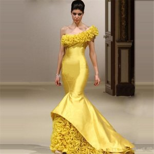Wholesale 2020 Cheap Arabic Sexy Yellow Evening Dresses One Shoulder Mermaid Ruffle Open Back Sweep Train Plus Size Fashion Party Prom Gowns