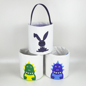 Wholesale Rabbit Easter Basket Easter Bunny Storage Bags Egg Candies Baskets Canvas Sequin Handbags Printed Tote Bag Party Decoration Style RRA2675