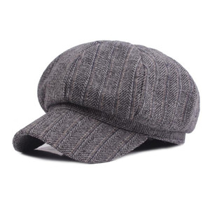 Wholesale Women Lady Winter Warm Berets Hat Striped Pattern Gatsby Driver Cap Newsboy Hat HATCS0251