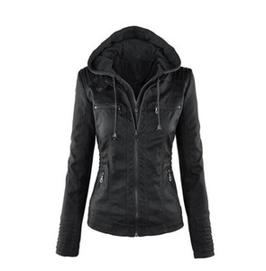 Women's jacket explosion models Europe and the long-sleeved women's zipper leather large size jacket short women MM1 on Sale