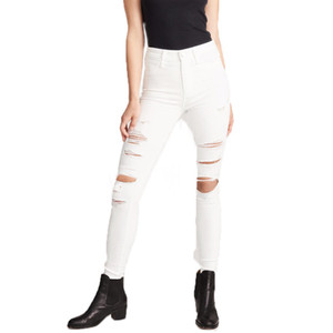 Wholesale Newest Arrivals Fashion Women Denim Skinny Pants High Waist white hole Stretch Jeans Slim Pencil Jeans Women Casual