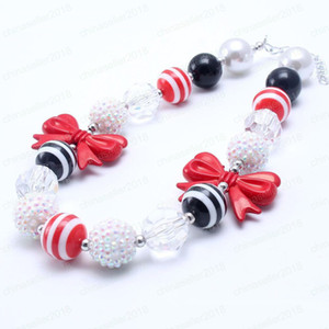 Wholesale Newest Fashion Bow Beads Kid Chunky Necklace Red Black Color Bubblegum Bead Chunky Necklace Children Jewelry For Toddler Girls