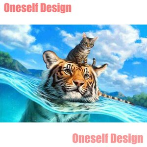 2019 new 5d diamond painting full square roud tiger 5d diamond embroidery full set cartoon animal Christmas decoration for home