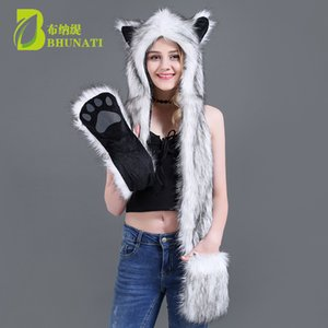 Wholesale Faux Fur Hood Animal Hat Ear Flaps Hand Pockets Animal Hood Hat Wolf Plush Warm Cap with Scarf Gloves