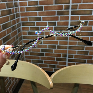 Wholesale water eyeglasses for sale - Group buy 2021 Half Lensless Alloy Decoration Chain Women Water Fashion Eyeglasses For Pendant Daimond Drop Frame Frame Glasses Tbtgq