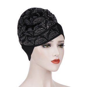 ingrosso accessori di capelli del fiore verde-Donne musulmane Drill Big Flower Cotton Turban Hat Hat Cancer Chemo Berretti Headwear Bonnet Headwrap Accessori per capelli