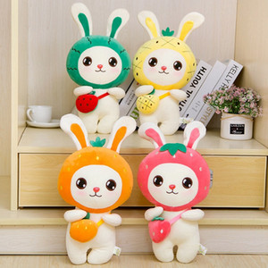 New 4 Styles 30cm Cute Fruit Rabbit in Backpack Doll Creative Cartoon Plush Toy Doll Free Shipping L128
