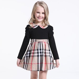 Wholesale Children Clothing Girls Plaid Princess Dress Kid Clothes New Kids Classic Dresses Skirt College Style Girls Long Sleeves Stripe Dress M892
