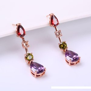 Wholesale Fashion Jewelry set environmental copper inlaid Zircon Necklace Earrings Set