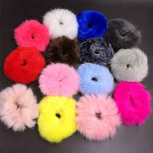 Wholesale Cute Elastic Hair Bands Girls Artificial Faux Fur Rubber Elastic Ring Rope Fluffy Tie Hair Accessories Furry Scrunchie Headband
