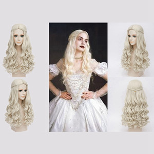Wholesale Newest Halloween Anime Wig Alice In Wonderland Mirror In The Wonders White Queen Wig Party Masquerade Female Role Playing Long Curly Hair