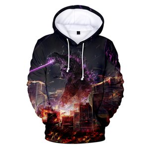 Wholesale 3D Aciton and Science godzilla king of the monsters Hooded Fantasy Streetwear Pop Pullovers Men s Sweatshirts Cool Slim