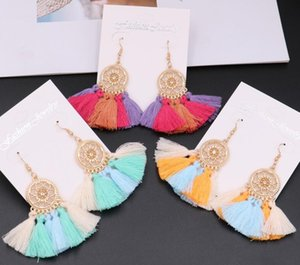 Wholesale Trendy Ethnic Bohemian Tassel Earrings For Women Handmade Jewelry Colorful Big Hoop Statement Earrings with Gold Alloy Crystal