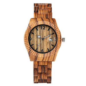 Wholesale Unique Full Wooden Watch for Boy Novel Design of Bamboo Watches for Friends Quartz Wood Bracelet Men Watch Calendar Function