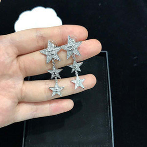 Wholesale Europe and America Fashion Women Earrings White Gold Plated Sparkling CZ Stars Earrings for Girls Women Nice Gift