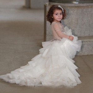 Wholesale kids t shirt dresses resale online - High Low Illusion Long Sleeves Girls Pageant Dresses Beading Sequins Layered Tulle Flower Girls Dress Children Lovely Kids Party Dress