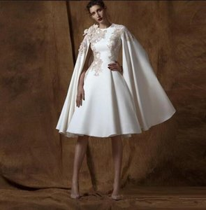 Wholesale Modern Knee Length KriKor Jabotian Crew Neck Long Sleeve Appliques Celebrity Dress Custom Made Dubai Arabic Occasion Evening Wear For Women