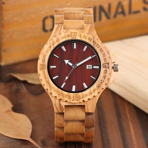Wholesale Minimalist Wooden Bamboo Watch for Men Stylish Natural Wood Wrist Watches for Boys Quartz Novel Full Wooden Watches Gift Man