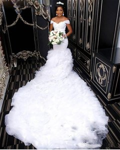 Wholesale 2019 Luxury Mermaid Wedding Dresses Long Chapel Train Off Shoulder Bridal Gowns Back Zipper Custom Made Formal African Wedding Dresses