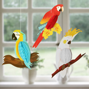 Wholesale tropical decorations for sale - Group buy Hawaiian Tropical Jungle Party Decoration Hanging Honeycomb Parrots Birthday Party Decor For Home Flamingo Luau Supplies