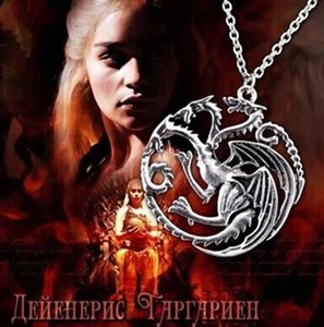 Wholesale Necklace Pendant Game of Thrones Man Woman Apparel with Silver Fashion Dragon Wolf Jewelry Gift Pop Party
