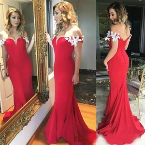 Wholesale Latest Sexy Mermaid Prom Dresses Button Back Long Red Formal Prom Gowns Vestido De Fiesta Party Dresses New Style Evening Dresses