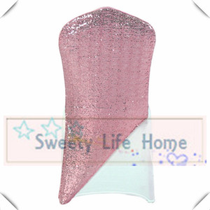 Wholesale Factory price Pink sequin fabric with Elastic chair cap hood used for wedding banquet Lycra chair cover