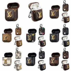 Wholesale For Airpods Case Luxury Metal sign classic colors PU Leather Protective Cover Hook Clasp Keychain Anti Lost Brand Earphone Cases Protector
